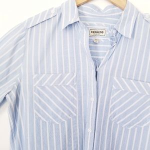 Express Blue & White striped Boyfriend button down